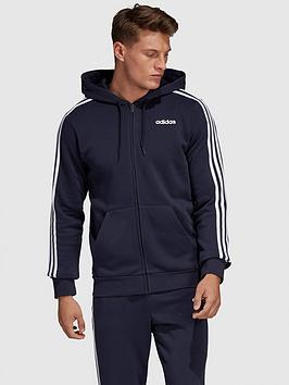 adidas-plus-size-essential-3-stripe-full-zip-hoodie-navy