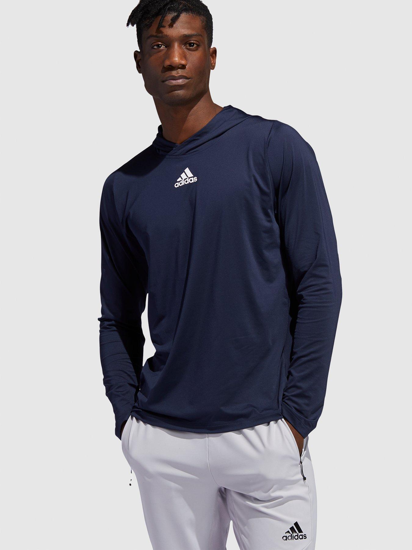 adidas Boys Long Sleeve Cotton Jersey Hooded T-Shirt Tee Boys Clothing