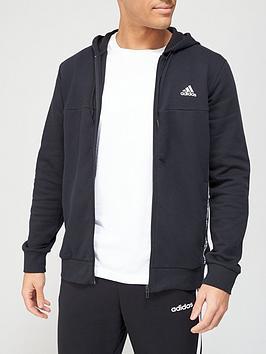 adidas-linear-logo-full-zip-hoodie-black