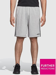 adidas-essential-3-stripe-shorts-grey