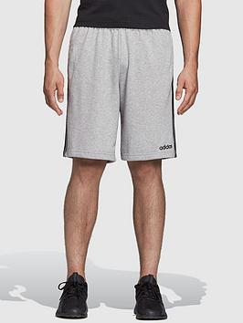 adidas-essential-3-stripe-shorts-grey