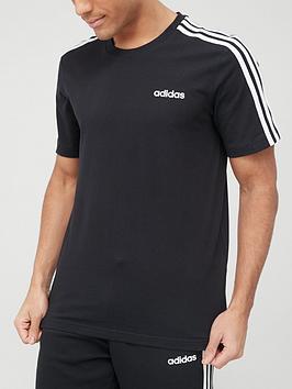 adidas-essential-3-stripe-t-shirt-black