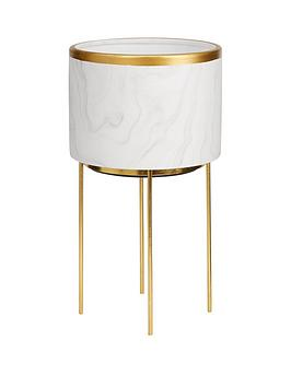 marble-effect-standing-planter-with-metallic-rim