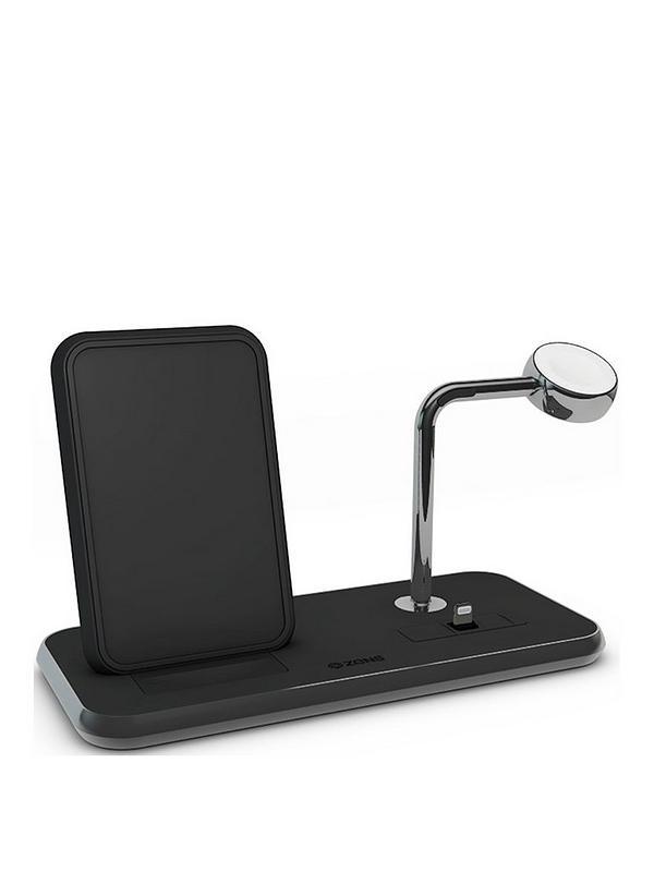 ZENS Aluminium Dual Wireless Charger + Dock + Watch 10W Black