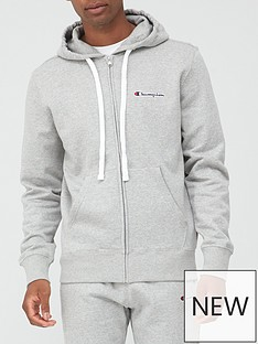 champion-small-logo-full-zip-hoodie-grey-marl