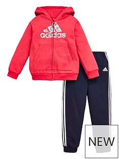adidas-infants-logo-full-zipnbspfleece-hoodie-and-joggers-set-pink