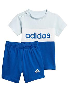 adidas-infants-colour-blocknbsptee-and-short-set-blue