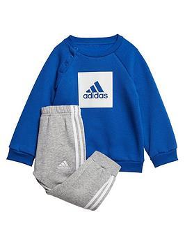 adidas-infants-three-stripe-logo-sweat-and-jogger-set-blue