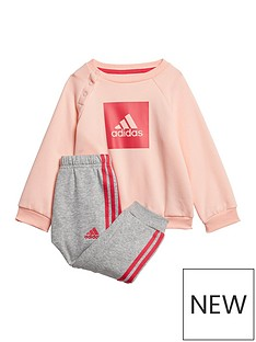 adidas-infants-threenbspstripe-logo-sweat-andnbspjogger-set-coral