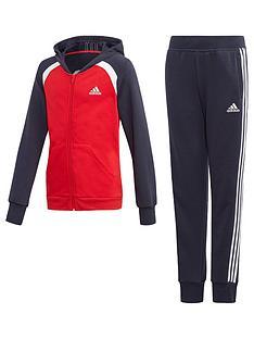 adidas-girls-hood-tracksuit-red