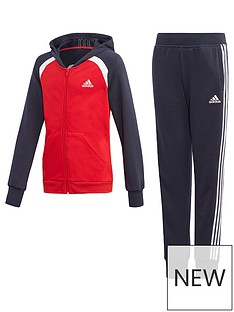 adidas-girls-hood-tracksuit-red