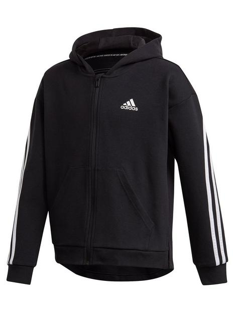 adidas-girls-3-stripes-full-zip-hoodie-black