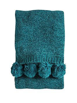 gallery-knittednbsppom-pom-chenille-throw