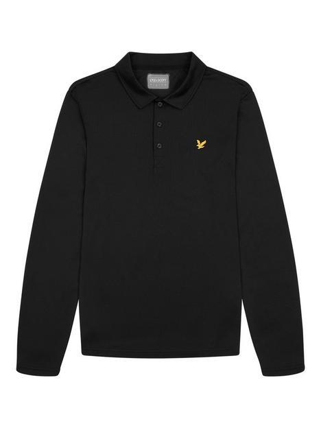lyle-scott-golf-long-sleeve-polo-top-black