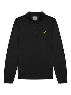 lyle-scott-golf-long-sleeve-polo-top-black