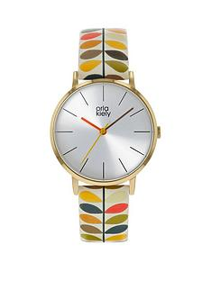 orla-kiely-orla-kiely-silver-sunray-dial-multi-colour-stem-print-leather-strap-watch