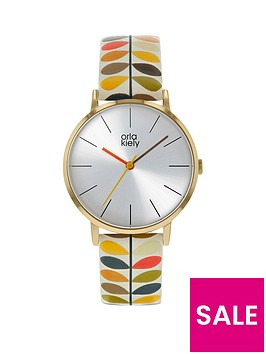 orla-kiely-orla-kiely-silver-sunray-dial-multi-colour-stem-print-leather-strap-watch