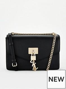 dkny-elissa-large-flap-shoulder-bag-black