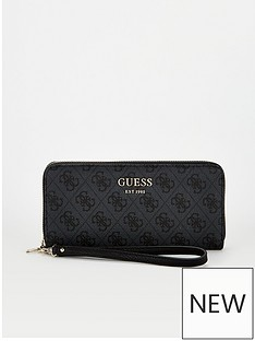 guess-vikky-four-g-print-large-zip-around-purse-black