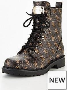 guess-talisi-four-g-print-biker-boots-brown