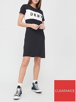 dkny-sport-colourblock-logo-t-shirt-dress-black