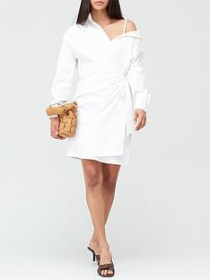 guess-karyda-off-shoulder-shirt-dress-white
