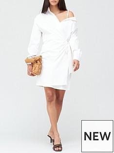 guess-karyda-off-shoulder-shirt-dress-white