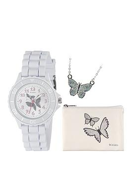 tikkers-tikkers-silver-butterfly-dial-white-silicone-strap-watch-with-purse-and-necklace-kids-gift-set