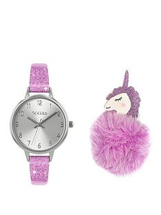 tikkers-tikkers-silver-dial-pink-glitter-strap-and-unicorn-pompom-kids-gift-set