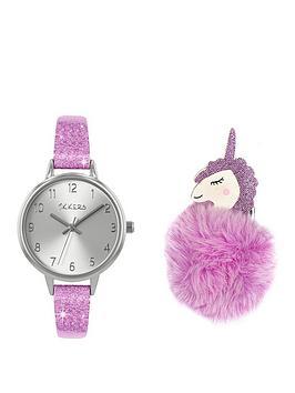 tikkers-tikkers-silver-dial-pink-glitter-strap-and-unicorn-pompom-kids-gift-set