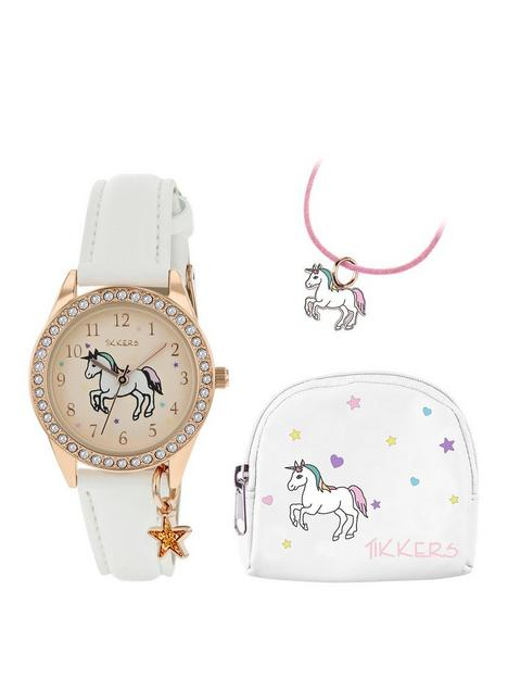 tikkers-tikkers-gold-unicorn-dial-white-leather-strap-watch-with-purse-and-necklace-kids-gift-set