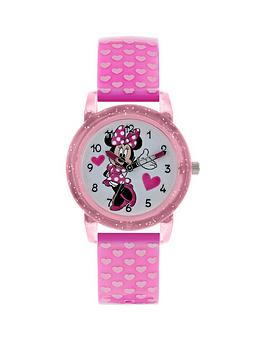 disney-minnie-mouse-glitter-dial-pink-heart-print-strap-kids-watch
