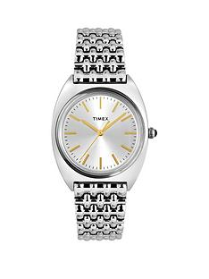timex-timex-milano-silver-and-gold-detail-sunray-dial-stainless-steel-bracelet-ladies-watch