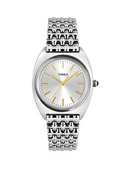 Timex Timex Milano Silver And Gold Detail Sunray Dial Stainless Steel Bracelet Ladies Watch