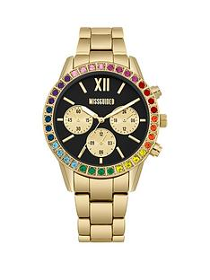 missguided-missguided-black-and-rainbow-crystal-chronograph-dial-gold-stainless-steel-bracelet-ladies-watch