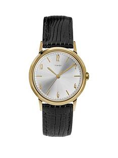 timex-timex-marlin-handwind-silver-sunray-and-gold-detail-dial-black-leather-strap-watch
