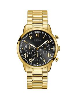 guess-guess-hendrix-black-sunray-chronograph-dial-gold-stainless-steel-bracelet-mens-watch
