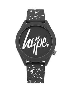 hype-hype-black-and-white-hype-dial-black-and-white-speckled-print-silicone-strap-kids-watch