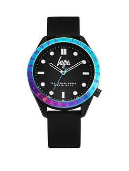 hype-hype-black-and-irridescent-bezel-dial-black-silicone-strap-kids-watch