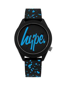 hype-hype-black-and-blue-hype-dial-black-and-blue-speckled-print-silicone-strap-kids-watch