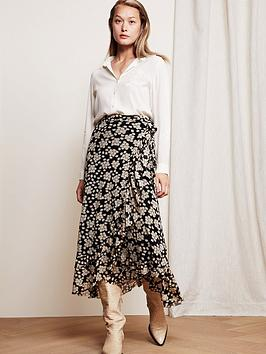 fabienne-chapot-bobo-floral-print-mesh-wrap-skirt-black