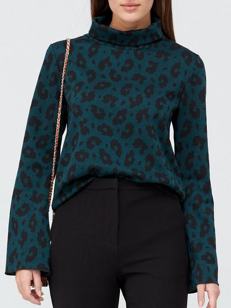 fabienne-chapot-phene-leopard-print-knitted-top-green