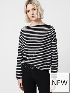 allsaints-rita-stripe-long-sleeve-top-blackwhite