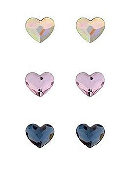 simply silver swarovski hearts three pack stud earrings