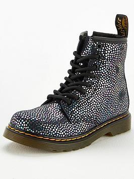 Dr Martens Girls 1460 Iridescent Black Spot 8 Lace Boots - Black Metallic, Black Metallic, Size 6 Younger