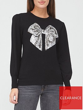 v-by-very-christmas-sequin-bow-jumper-black