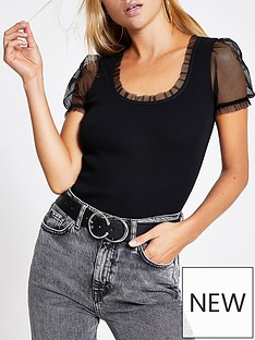 river-island-mesh-sleeve-square-neck-jersey-top-black