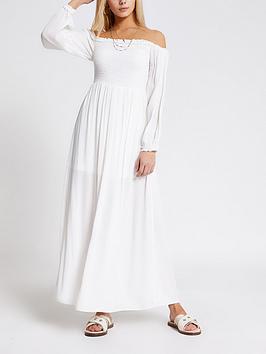 river-island-bardot-shirred-top-maxi-dress-white