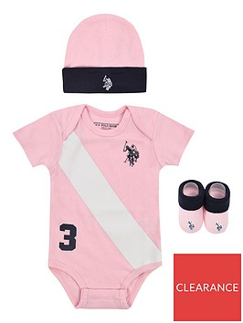 us-polo-assn-baby-girls-players-bodysuit-hat-and-booties-gift-setnbsp--light-pink