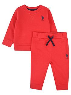 us-polo-assn-baby-boys-player-crew-sweat-set-red